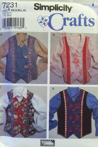 Simplicity 7231 Misses' Vests - A (XS-S-M-L-XL) - Smiths Depot Sewing Pattern Superstore