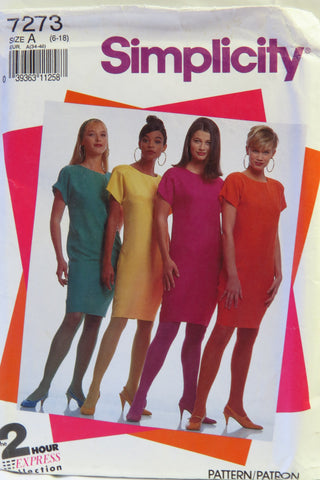 Simplicity 7273 Misses' and Miss Petite Shift - A (6-8-10-12-14-16-18) - Smiths Depot Sewing Pattern Superstore