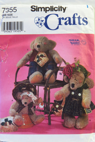 "Simplicity 7355 22"" (56cm) and 14"" (35.5cm) Bears with Clothes -  - Smiths Depot Sewing Pattern Superstore"