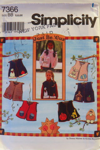 Simplicity 7366 Child's Vest - BB (5-6-6X) - Smiths Depot Sewing Pattern Superstore