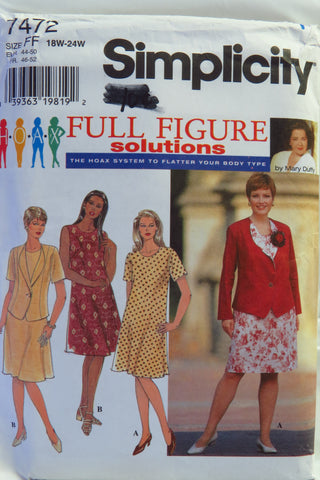 Simplicity 7472 Women's Jacket and Dress - FF (18W-20W-22W-24W) - Smiths Depot Sewing Pattern Superstore