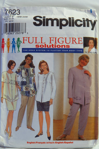 Simplicity 7623 Women's Top, Skirt and Pants - FF (18W-20W-22W-24W) - Smiths Depot Sewing Pattern Superstore