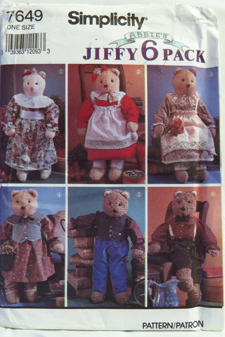 Simplicity 7649 Stuffed Bear and Clothes -  - Smiths Depot Sewing Pattern Superstore
