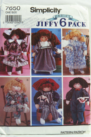 Simplicity 7650 Stuffed Doll and Clothes -  - Smiths Depot Sewing Pattern Superstore