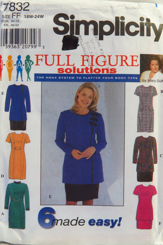 Simplicity 7832 Women's/Women's Petite Dress or Tunic and Skirt - FF (18W-20W-22W-24W) - Smiths Depot Sewing Pattern Superstore