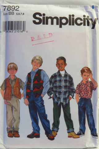 Simplicity 7892 Boy's Shirt, Vest and Pants - BB (5-6-7-8) - Smiths Depot Sewing Pattern Superstore