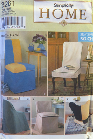 Simplicity 8261 Chair Covers -  - Smiths Depot Sewing Pattern Superstore