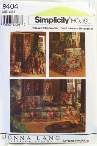 Simplicity 8404 Relaxed Slipcovers -  - Smiths Depot Sewing Pattern Superstore