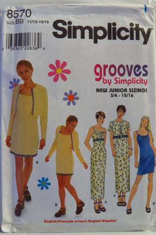 Simplicity 8570 Juniors' Dress an Jacket - BB (11/12-15/16) - Smiths Depot Sewing Pattern Superstore