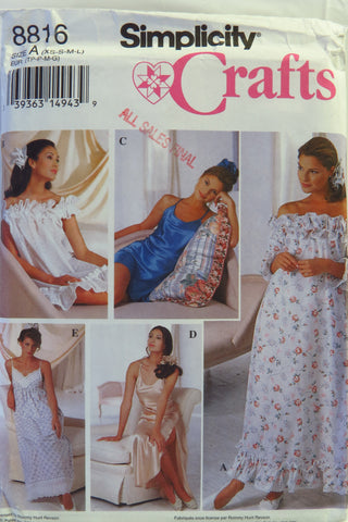 Simplicity 8816 Misses  Nightgowns and Hair Accessories - A (XS-S-M-L) - 6f7f789c1