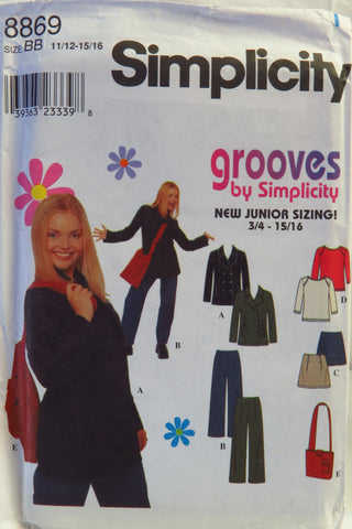 Simplicity 8869 Juniors' Jacket, Pants, Skirt, Bag and Knit Top - BB (11/12-13/14-15/16) - Smiths Depot Sewing Pattern Superstore