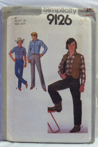 Simplicity 9126 Teen-Boys', Shirt, Pants and Reversible Vest - Teen 18 - Smiths Depot Sewing Pattern Superstore