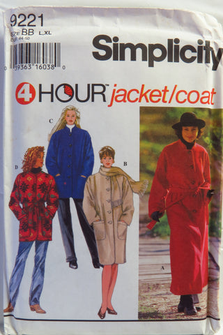 Simplicity 9221 Misses' Coat or Jacket and Scarf - BB (L-XL) - Smiths Depot Sewing Pattern Superstore