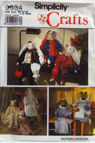 "Simplicity 0634 Decorative Stuffed 24"" Bunny and Cat and Clothes -  - Smiths Depot Sewing Pattern Superstore"