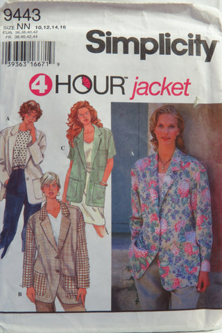Simplicity 9443 Misses' Jacket -  - Smiths Depot Sewing Pattern Superstore