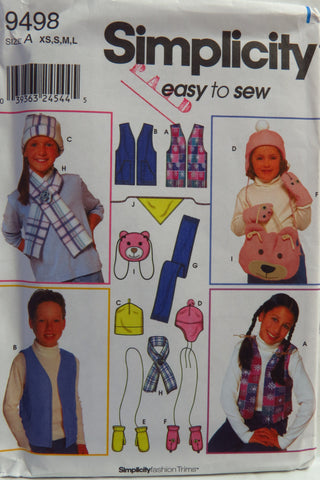 Simplicity 9498 Child's Vest, Accessories and Hats -  - Smiths Depot Sewing Pattern Superstore