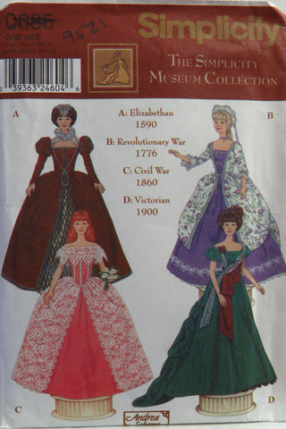"Simplicity 0685 Costumes for 11½"" Fashion Doll -  - Smiths Depot Sewing Pattern Superstore"