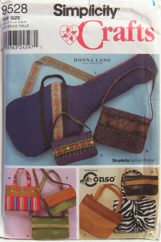 Simplicity 9528 Bags in Different Sizes and Styles -  - Smiths Depot Sewing Pattern Superstore