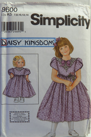 "Simplicity 9600 Child's and Girls' Dress and Doll Dress for 18"" Doll - K5 (7-8-10-12-14) - Smiths Depot Sewing Pattern Superstore"
