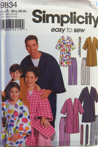 Simplicity 9834 Unisex Child's, Teens and Adults' Robe and Pants -  - Smiths Depot Sewing Pattern Superstore