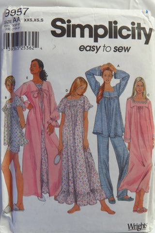Simplicity 9957 Misses  Nightgown and Pajamas and Robe - AA (XXS-XS- f055612e1