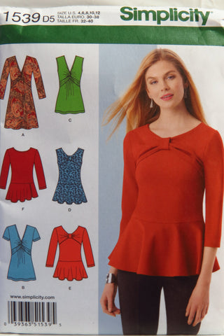Simplicity 1539 Misses' Knit Tunic or Top and Peplum Tops - D5 (4-6-8-10-12) - Smiths Depot Sewing Pattern Superstore  - 1