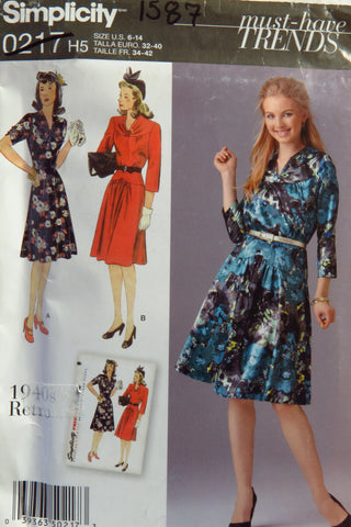 Simplicity 0217 Misses'/Miss Petite 1940's Retro Dress - A (6-8-10-12-14) - Smiths Depot Sewing Pattern Superstore