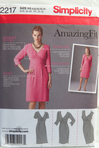 Simplicity 2217 Misses' Dress for Slim,Average and Curvy Fit and A,B,C,D Cup Sizes - H5 (6-8-10-12-14) - Smiths Depot Sewing Pattern Superstore  - 1