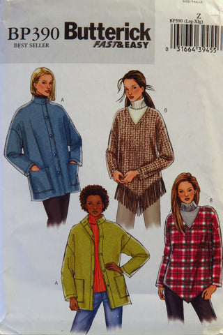 Butterick 0390 Misses'/Misses' Petite Jacket and Poncho - Z (LRG-XL) - Smiths Depot Sewing Pattern Superstore