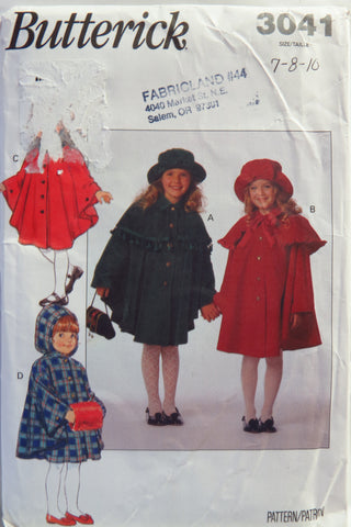 Butterick 3041 Children's/Girls' Cape and Hat - 7-8-10 - Smiths Depot Sewing Pattern Superstore