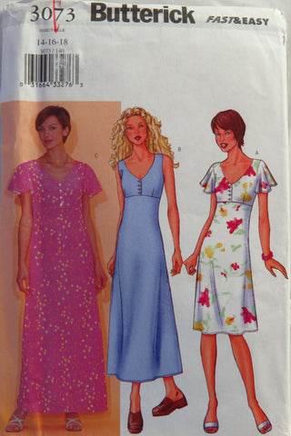 Butterick 3073 Misses' Dress - 14-16-18 - Smiths Depot Sewing Pattern Superstore