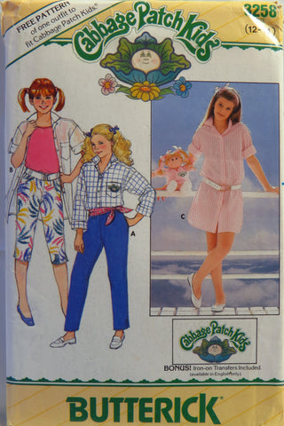 Butterick 3258 Cabbage Patch Kids Girls' Dress, Shirt, Pants and Transfer - 12-14 - Smiths Depot Sewing Pattern Superstore