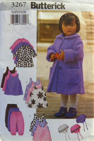 Butterick 3267 Toddlers' Coat, Jumper, Vest, Pants and Hat -  - Smiths Depot Sewing Pattern Superstore