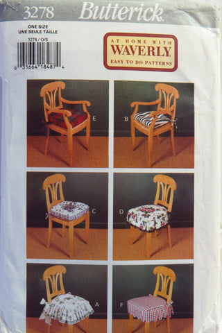 Butterick 3278 Chair Covers -  - Smiths Depot Sewing Pattern Superstore