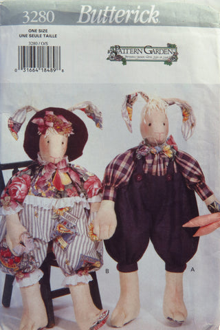 "Butterick 3280 ""Boggs"" Bunny Plush -  - Smiths Depot Sewing Pattern Superstore"