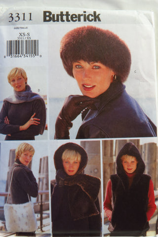 Butterick 3311 Misses' Vest, Headwrap, Headband, Scarf and Bag -  - Smiths Depot Sewing Pattern Superstore