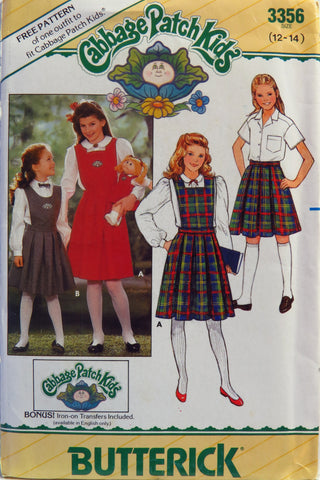 Butterick 3356 Juniors'/Girls' Cabbage Patch Kids Bib, Skirt and Transfers - 12-14 - Smiths Depot Sewing Pattern Superstore
