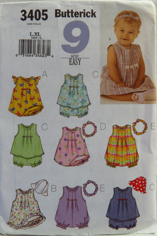 Butterick 3405 Infants' Dress, Top, Romper, Panties, Hat and Headband - L-XL - Smiths Depot Sewing Pattern Superstore