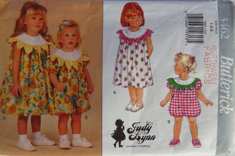 Butterick 3462 Toddlers'/Girl's Dress and Romper - 1-2-3 - Smiths Depot Sewing Pattern Superstore