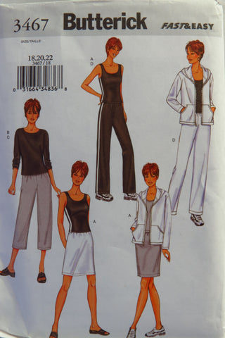 Butterick 3467 Misses'/Misses' Petite Jacket, Top, Skirt and Pants - 18-20-22 - Smiths Depot Sewing Pattern Superstore