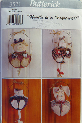Butterick 3521 Just Hanging Around Door Animals -  - Smiths Depot Sewing Pattern Superstore