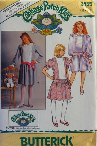 Butterick 3555 Cabbage Patch Kids Girl's Dress and Transfer - 12-14 - Smiths Depot Sewing Pattern Superstore