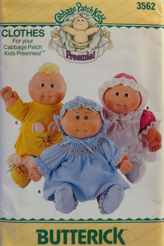 Butterick 3562 Cabbage Patch Kids Preemie! Doll Clothes -  - Smiths Depot Sewing Pattern Superstore