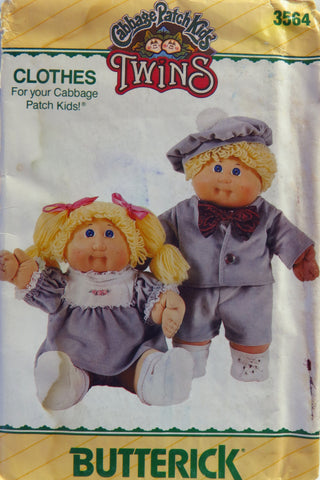 Butterick 3564 Cabbage Patch Kids Twins Doll Clothes -  - Smiths Depot Sewing Pattern Superstore