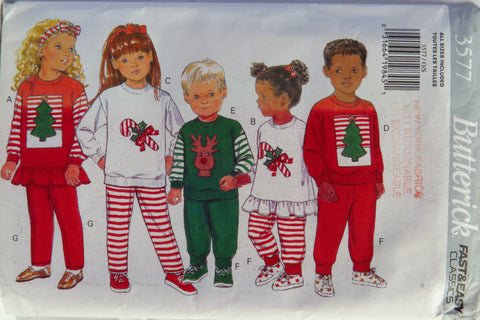 Butterick 3577 Children's Christmas Top, Pants and Headband Pajamas -  - Smiths Depot Sewing Pattern Superstore