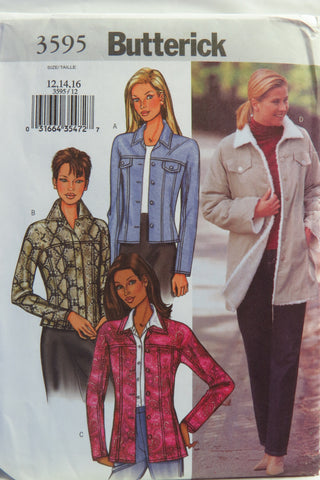Butterick 3595 Misses' Jacket -  - Smiths Depot Sewing Pattern Superstore