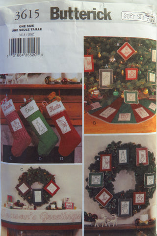 Butterick 3615 Christmas Decorating with Stitchery -  - Smiths Depot Sewing Pattern Superstore