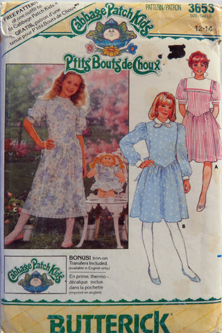 Butterick 3653 Cabbage Patch Kids Child's Dress - 12-14 - Smiths Depot Sewing Pattern Superstore