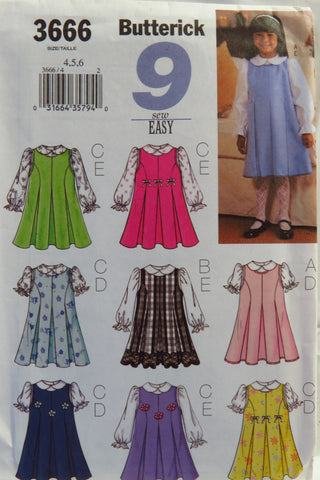 Butterick 3666 Toddlers' Jumper and Blouse - 4-5-6 - Smiths Depot Sewing Pattern Superstore
