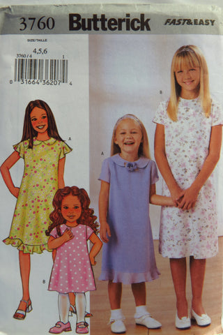 Butterick 3760 Girls' Dress - 4-5-6 - Smiths Depot Sewing Pattern Superstore  - 1